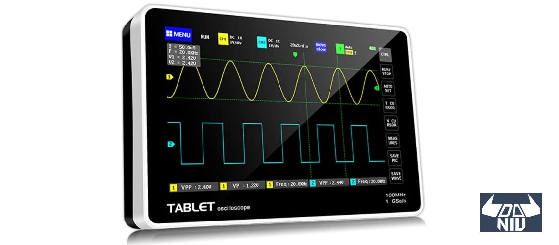 ADS1013D, 2 x 100 MHz osciloskop o veľkosti tabletu