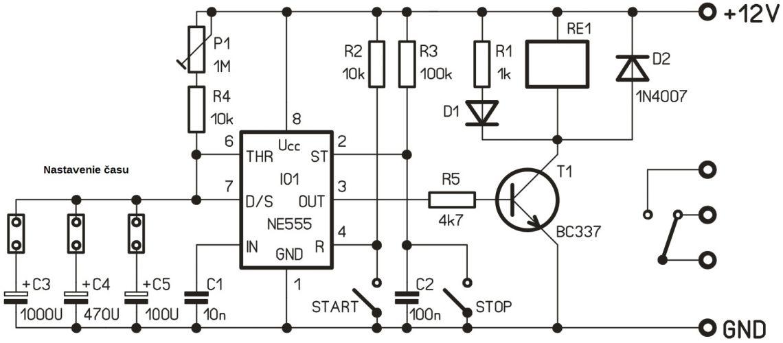 Časový spínač pre krátke časy 250V / 5A