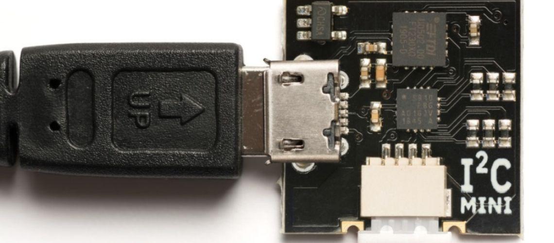 I2CMini: Nízkonákladová doska pre rýchle testovanie I2C na USB