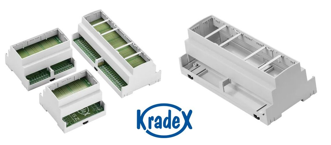 Krabičky značky Kradex určené na montáž na DIN lištu