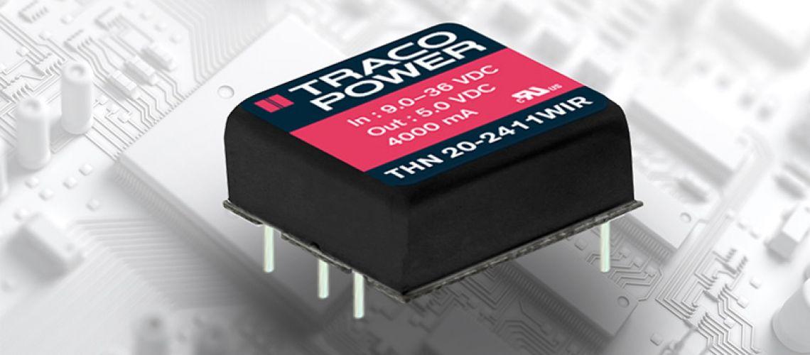 Robustné 20W meniče DC/DC radu TRACO Power THN 20WIR