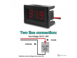 """Digitálny voltmeter červený 0,36"""" DC 2.4V-30V."""